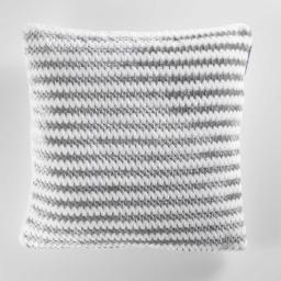 Housse de coussin +encart 40 x 40 cm flanelle jacquard/sherpa sydney Gris