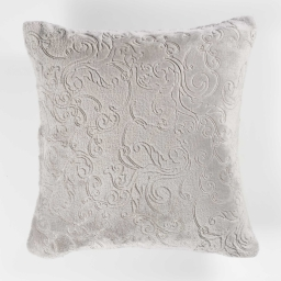 Housse de coussin +encart 40 x 40 cm flanelle relief baroco Gris
