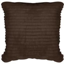 Housse de coussin +encart 40 x 40 cm imitation fourrure+suede c1053 rayure Choco