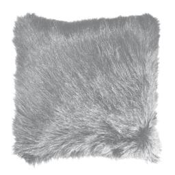 Housse de coussin +encart 40 x 40 cm imitation fourrure+suede c1054 grizzly Gris