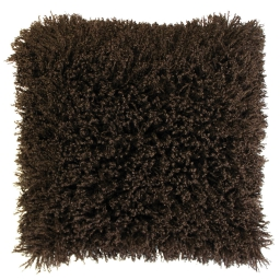 Housse de coussin +encart 40 x 40 cm imitation fourrure+suede c1057 mouton Choco