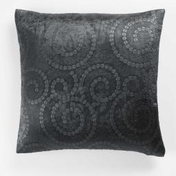Housse de coussin +encart 40 x 40 cm occultant velours frappe noctua Anthracite