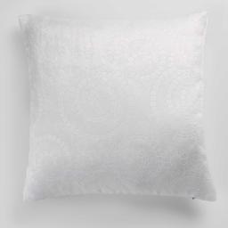Housse de coussin +encart 40 x 40 cm occultant velours frappe noctua Blanc