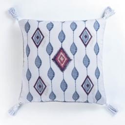 housse de coussin +encart 40 x 40 cm panama polycoton imprime azteca