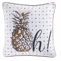 housse de coussin +encart 40 x 40 cm polycoton imprime ananas fun des. place