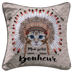 housse de coussin +encart 40 x 40 cm polyester imprime apache cat