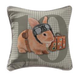 housse de coussin +encart 40 x 40 cm polyester imprime bunny's holiday