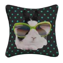Housse de coussin +encart 40 x 40 cm polyester imprime bunny star Anis