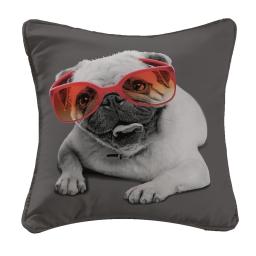 housse de coussin +encart 40 x 40 cm polyester imprime doggy glasses