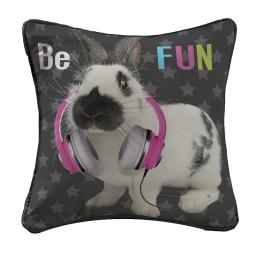 housse de coussin +encart 40 x 40 cm polyester imprime fun rabbit