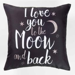 housse de coussin +encart 40 x 40 cm polyester imprime love moon