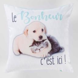 housse de coussin +encart 40 x 40 cm polyester imprime puppies