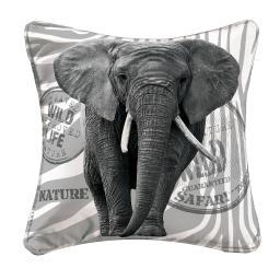 housse de coussin +encart 40 x 40 cm suede imprime wild elephant des. place