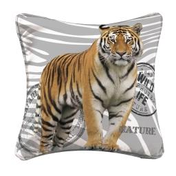 housse de coussin +encart 40 x 40 cm suede imprime wild tiger des. place