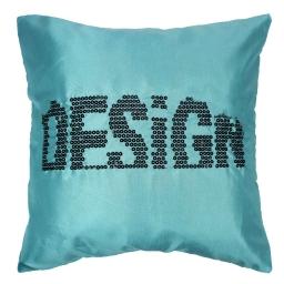 Housse de coussin +encart 40 x 40 cm taffetas brode sequins lulu design turquois Turquoise