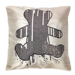 Housse de coussin +encart 40 x 40 cm taffetas brode sequins lulu ours strass Lin