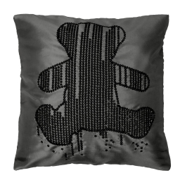 Housse de coussin +encart 40x40 cm taf. brode sequins lulu ours strass anthracit Anthracite