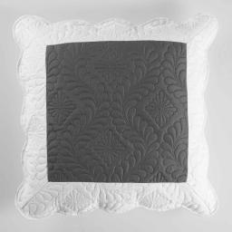 Housse de coussin +encart 45 x 45 cm microfibre bicolore andrea Anthracite/Blanc