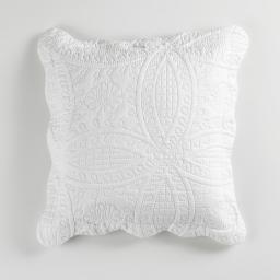 Housse de coussin +encart 45 x 45 cm microfibre unie stony Blanc