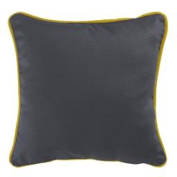 Housse de coussin +encart 60 x 60 cm coton uni panama Ardoise/Miel