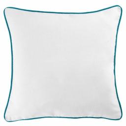 Housse de coussin +encart 60 x 60 cm coton uni panama Blanc/Bleu