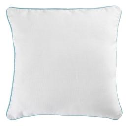 Housse de coussin +encart 60 x 60 cm coton uni panama Blanc/Menthe