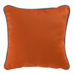 Housse de coussin +encart 60 x 60 cm coton uni panama Brique/Ardoise