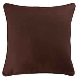 Housse de coussin +encart 60 x 60 cm coton uni panama Choco