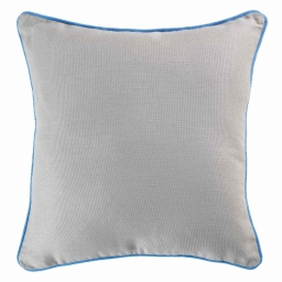 Housse de coussin +encart 60 x 60 cm coton uni panama Gris/Azur