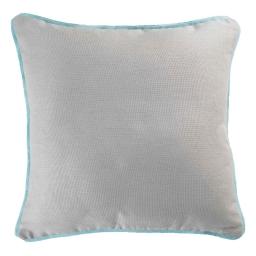 Housse de coussin +encart 60 x 60 cm coton uni panama Gris/Menthe