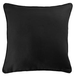 Housse de coussin +encart 60 x 60 cm coton uni panama Noir