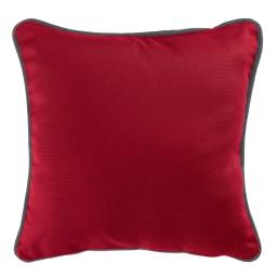 Housse de coussin +encart 60 x 60 cm coton uni panama Rouge/Ardoise