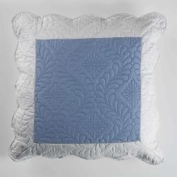 Housse de coussin +encart 60 x 60 cm microfibre bicolore andrea Bleu/Gris