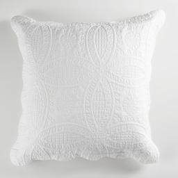 Housse de coussin +encart 60 x 60 cm microfibre unie stony Blanc