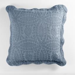 Housse de coussin +encart 60 x 60 cm microfibre unie stony Bleu
