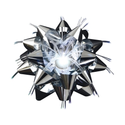 ip20/4,5v-noeud satin fibre optique-1l-fleur argent-a piles-ø9cm