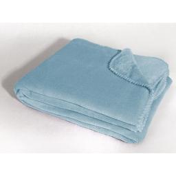 Jete de canape 180 x 220 cm coral uni louna Bleu