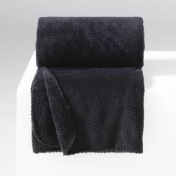Jete de canape 180 x 220 cm flanelle jacquard calinou Noir