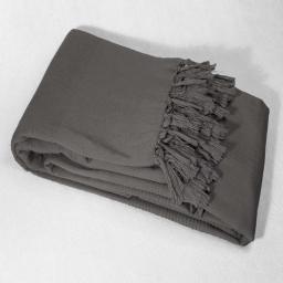Jete de canape a franges 180 x 220 cm coton tisse lana Anthracite