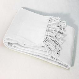 Jete de canape a franges 220 x 240 cm coton tisse lana Blanc