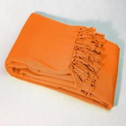 Jete de canape a franges 220 x 240 cm coton tisse lana Orange