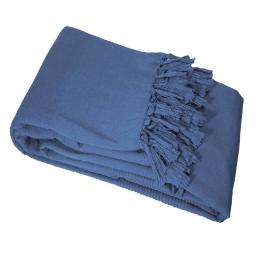 Jete de fauteuil a franges 150 x 150 cm coton tisse lana Indigo
