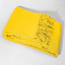 Jete de fauteuil a franges 150 x 150 cm coton tisse lana Jaune