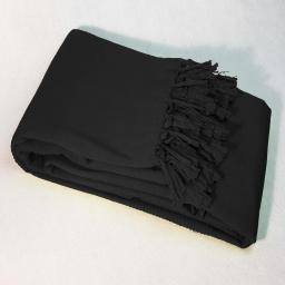 Jete de fauteuil a franges 150 x 150 cm coton tisse lana Noir