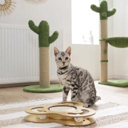 Jeu interactif pour chat avec griffoir et tunnel 35*35*4cm Naturel