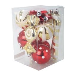 kit boules+suspensions 12-6*ø5cm boules+4*h11cm bonbons+2*h14cm cannes a sucre