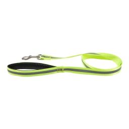 laisse poignee confort avec bande reflechissante l120cm*l25mm - coloris jaune