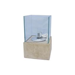 lampe a huile verre base fibercement h25cm beige effet beton