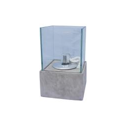 lampe a huile verre base fibercement h25cm gris effet beton