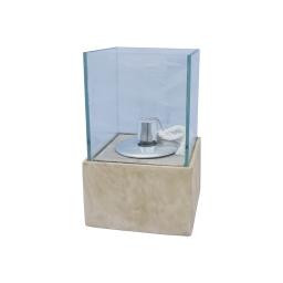 lampe a huile verre base fibercement h30cm beige effet beton